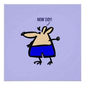 Rato novo do divertimento do dia no poster azul de pôster