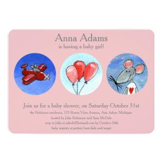 Rato, plano & balões para Babygirl Convite 12.7 X 17.78cm