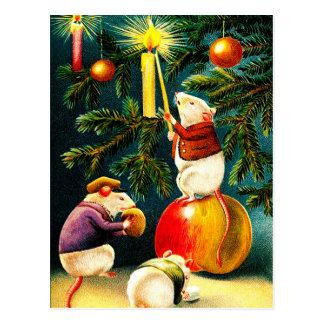 Ratos engraçados. Cartão do natal vintage Cartão Postal