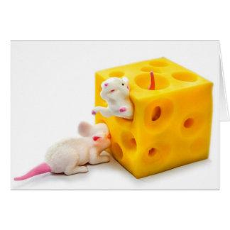 Ratos no cartão engraçado dos brinquedos do queijo