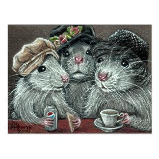 Ratos nos chapéus que comem o cartão do almoço cartão postal