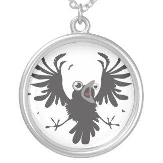 Raven~necklace louco colar banhado a prata