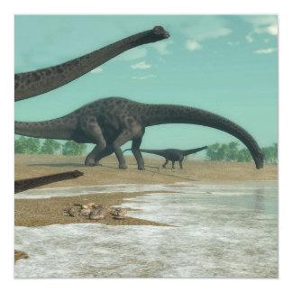 Rebanho dos dinossauros do Diplodocus - 3D rendem Convite Quadrado 13.35 X 13.35cm