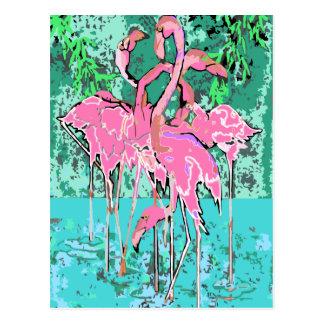 Rebanho retro de flamingos do cartão dos pássaros