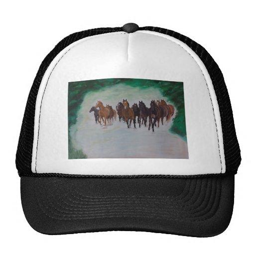 Rebanhos jovens de cavalo no galope boné