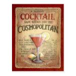receita cosmopolita do cocktail cartão postal
