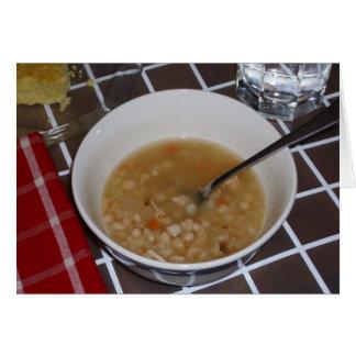 Receita da sopa de feijão em um cartão