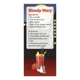 Receita do Bloody Mary 10.16 X 22.86cm Panfleto