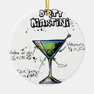 Receita suja do cocktail de Martini Ornamento De Cerâmica Redondo
