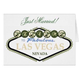 Recem casados! Cartão de Las Vegas do rosa branco