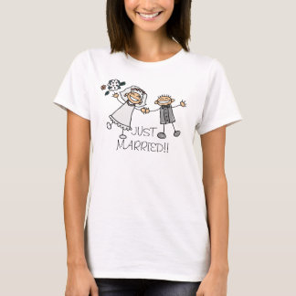 RECEM CASADOS DO DESIGN DO T-SHIRT DO CASAMENTO CAMISETA