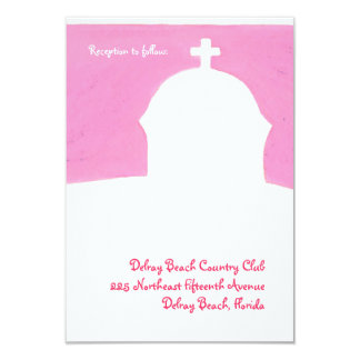 Recepção cor-de-rosa da igreja convite 8.89 x 12.7cm