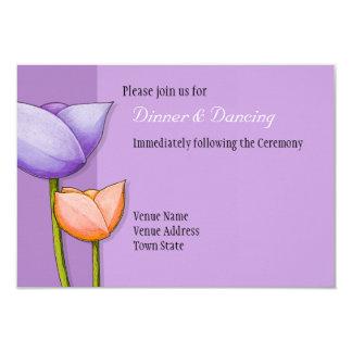 Recepção de casamento alaranjada roxa das flores convite 8.89 x 12.7cm