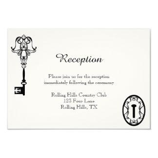 Recepção de casamento chave preto e branco convite 8.89 x 12.7cm