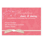 Recepção de casamento cor-de-rosa coral da fita do modelos cartão de visita