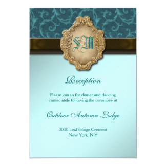 Recepção de casamento do laço do ouro do marrom convite 12.7 x 17.78cm