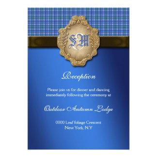 Recepção de casamento do marrom azul do Tartan Convites Personalizado
