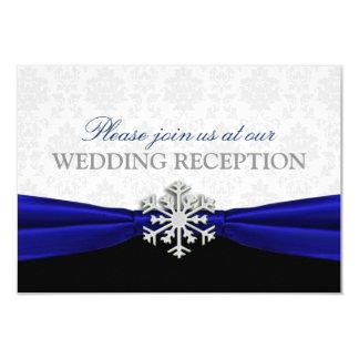 Recepção de casamento no inverno da fita azul convite 8.89 x 12.7cm