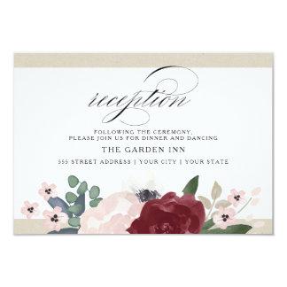 Recepção floral romântica convite 8.89 x 12.7cm