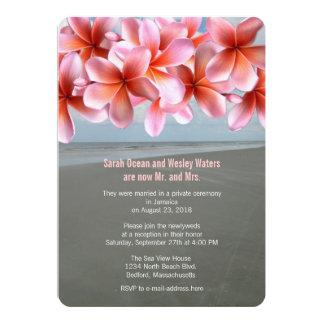 Recepção tropical do Plumeria cor-de-rosa somente Convite 12.7 X 17.78cm