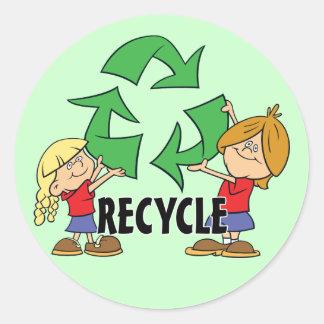 Reciclar dos miúdos adesivo redondo