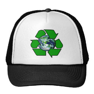 Reciclar para a terra do planeta bonés
