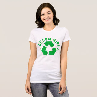 Reciclar verde do reciclagem da menina. .png camiseta