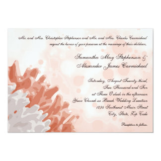 Recife coral e branco convite 12.7 x 17.78cm