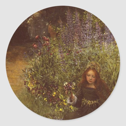 Recolhendo Pansies por Laura Teresa Alma-Tadema Adesivos Redondos