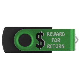 Recompensa para o retorno pen drive giratório
