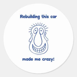 Reconstruindo um carro velho adesivos em formato redondos