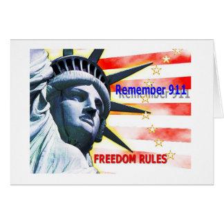 """""""Recorde 911"""" regras da liberdade! Cartão Comemorativo"""