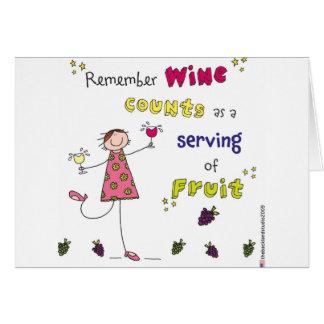 Recorde contagens do vinho como um serviço da cartão comemorativo