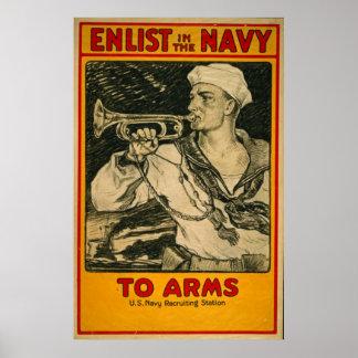 Recrute no poster vintage do marinho
