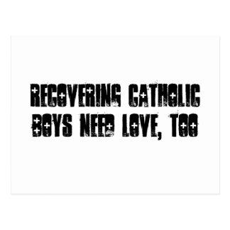 Recuperando o cartão católico do menino cartao postal