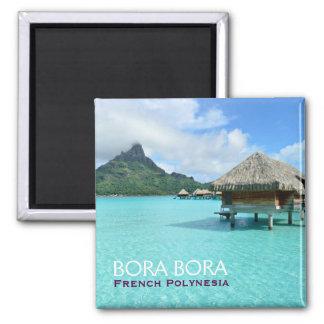Recurso de Overwater em Bora Bora com ímã do texto Ímã Quadrado