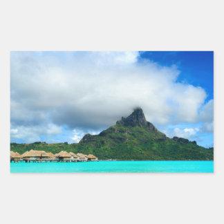 Recurso tropical na etiqueta retangular de Bora