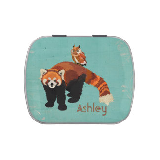 Red Panda & Owl Jelly Belly Container Candy Tins