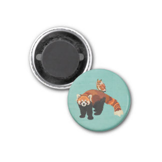Red Panda & Owl Magnet 1 Inch Round Magnet