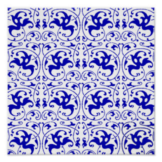 Redemoinho azul e branco do vintage poster