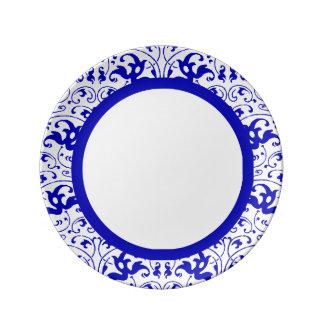 Redemoinho azul e branco do vintage prato de porcelana