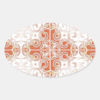 Redemoinho branco alaranjado inspirado pelo adesivo oval