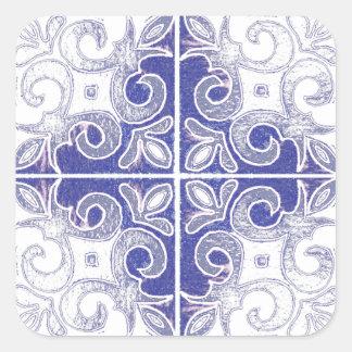 Redemoinho branco azul inspirado pelo português adesivo quadrado