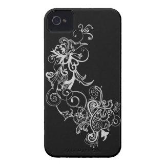 Redemoinho da flor preta & branca capa para iPhone 4 Case-Mate