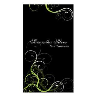 Redemoinho elegante do verde do cartão de visita d