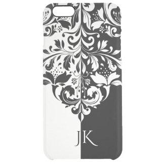 Redemoinho floral elegante da tela preta & branca capa para iPhone 6 plus transparente