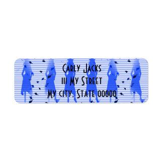Redemoinho listrado azul das meninas do formando etiqueta endereço de retorno