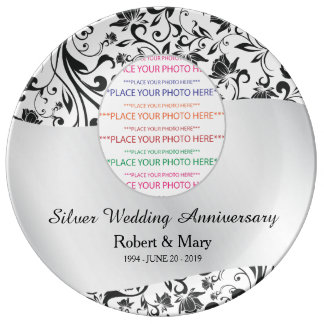 Redemoinho preto & aniversário de casamento da prato de porcelana