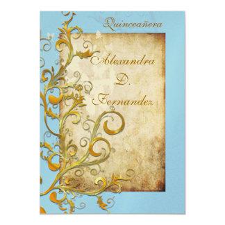 Redemoinhos/borboletas do flourish do vintage convite 12.7 x 17.78cm
