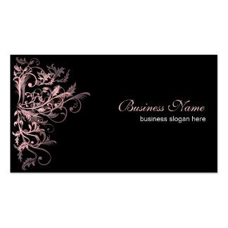 Redemoinhos cor-de-rosa retros elegantes da flor modelo cartões de visita